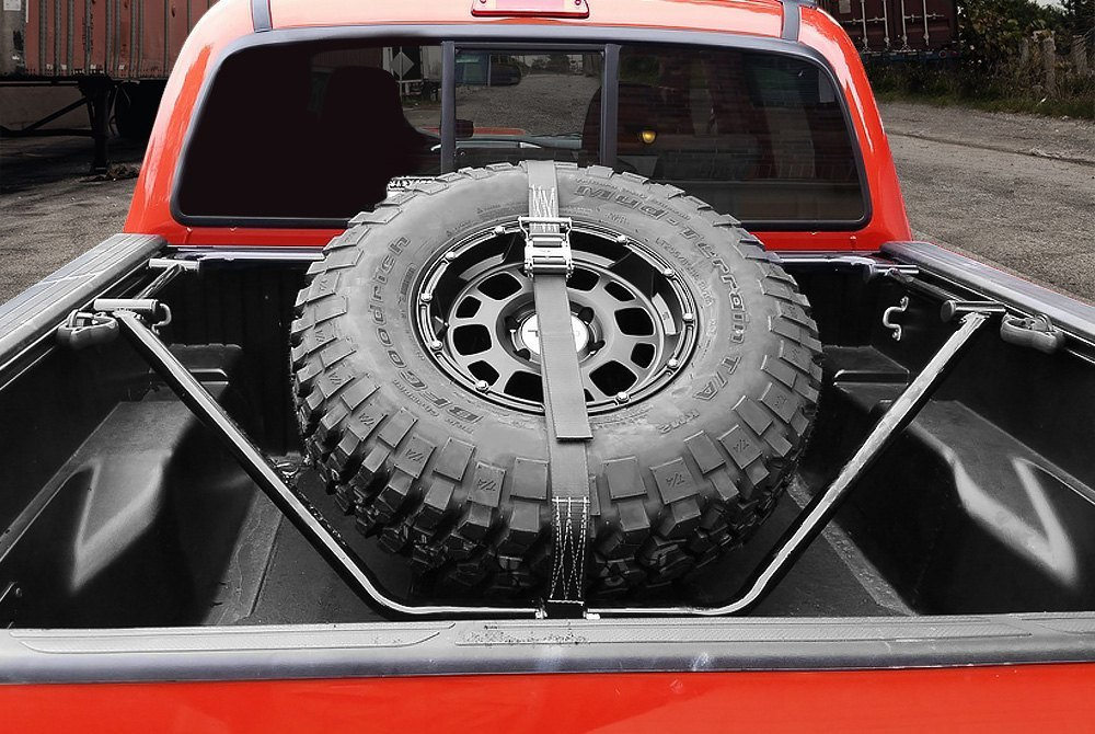 Bed Mount Spare Tire Carrier on Tundra Flatbed