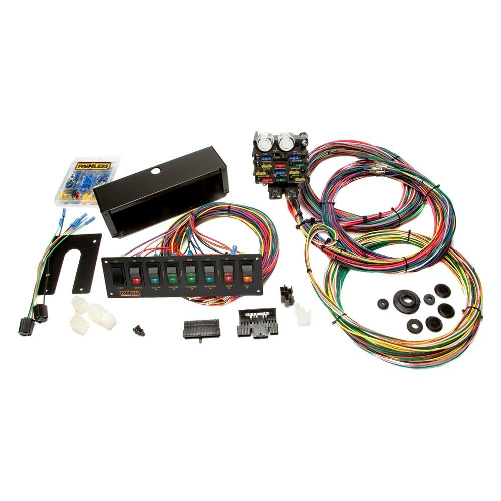 Painless Performance 50003 21 Circuit Chassis Harness With Switch Fuse Box Install Panel