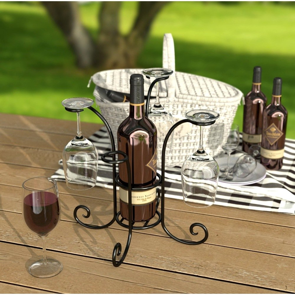 Panacea Wine And Glass Caddy Black