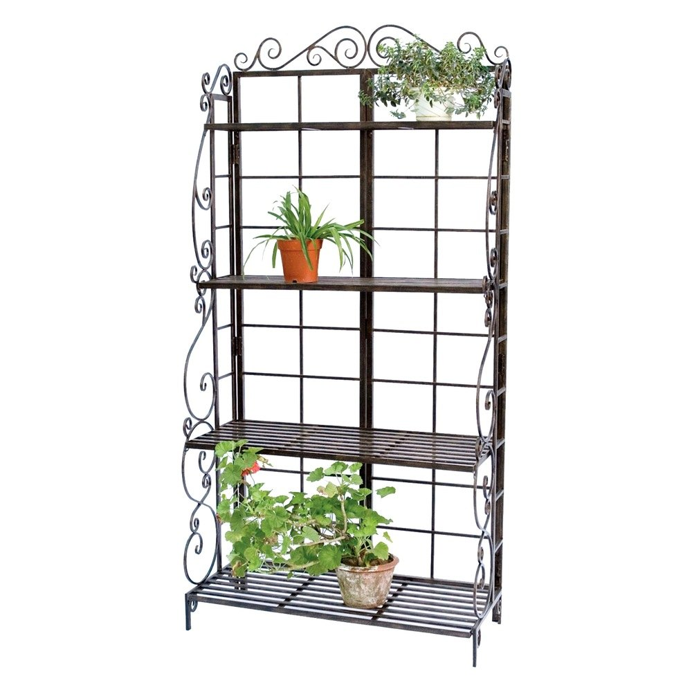 Panacea 89197 bakers rack plant stand brnz for Plant shelf plans