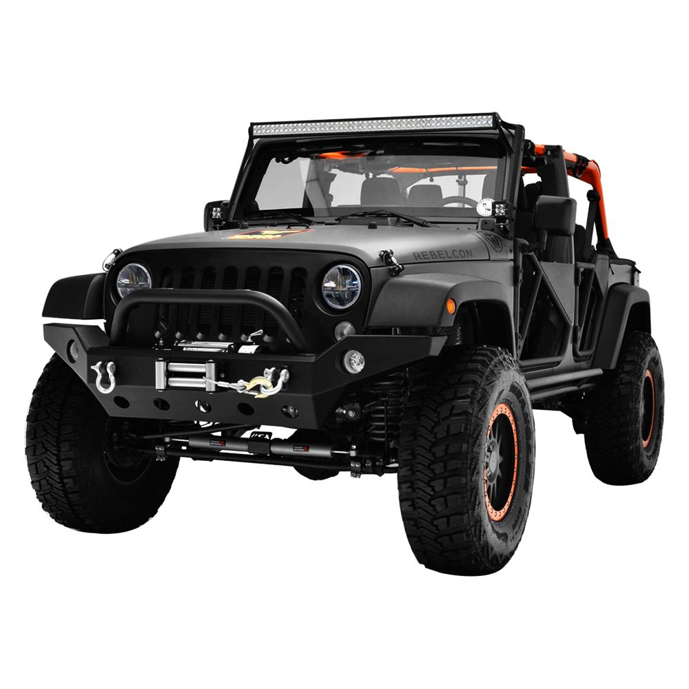 paramount jeep wrangler 2007 2017 off road r8 full width black front winch hd bumper with hoop. Black Bedroom Furniture Sets. Home Design Ideas