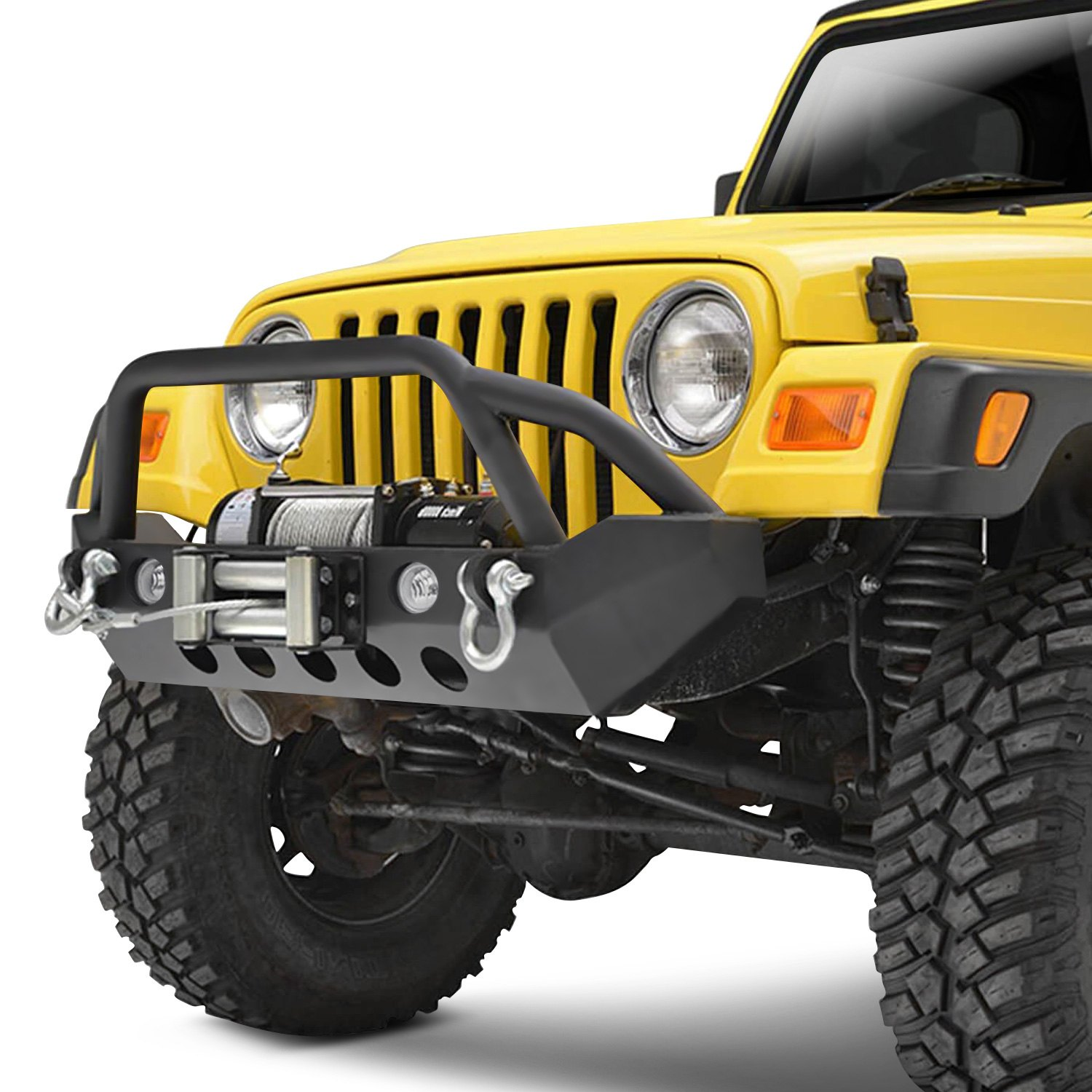 Paramount Jeep Wrangler 2013 Off Road Stubby Black Front Winch Hd Bumper With Pre Runner Guard