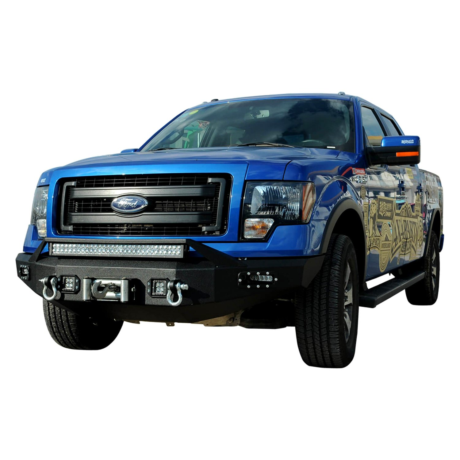 Paramount ford f 150 2010 full width black front winch hd bumper for Ford f 150 exterior accessories