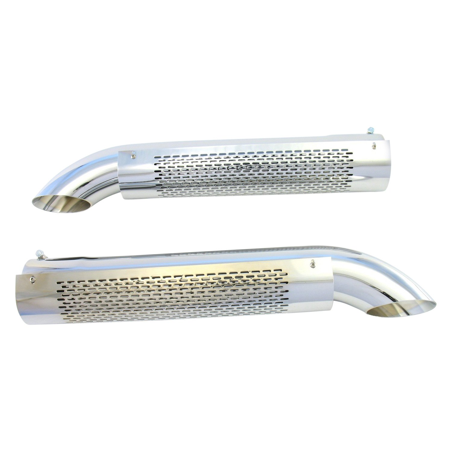 Shielded Exhaust Side Pipes Steel Chrome Turnout Shielded Exhaust Side Pipes Ebay