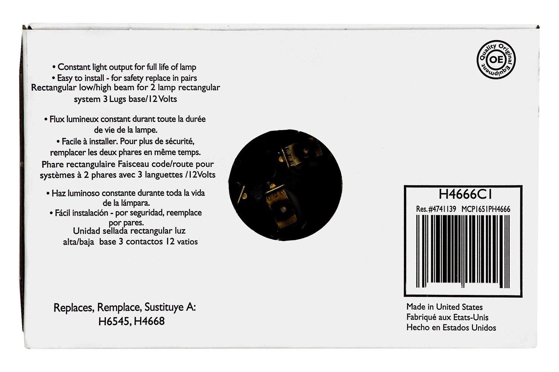 Philips H4666c1 4x6 Rectangular Chrome Factory Style Sealed Beam H6545 Headlight Wiring Diagram Headlightphilips