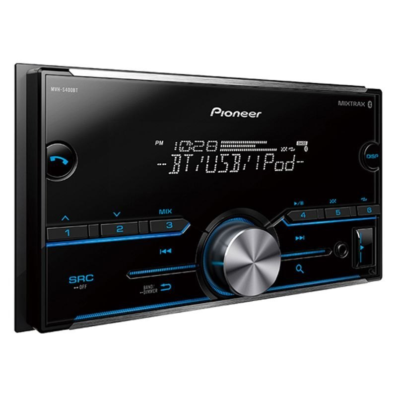 pioneer mvhs400bt double din am fm mp3 wma aac flac digital media receiver with built in. Black Bedroom Furniture Sets. Home Design Ideas