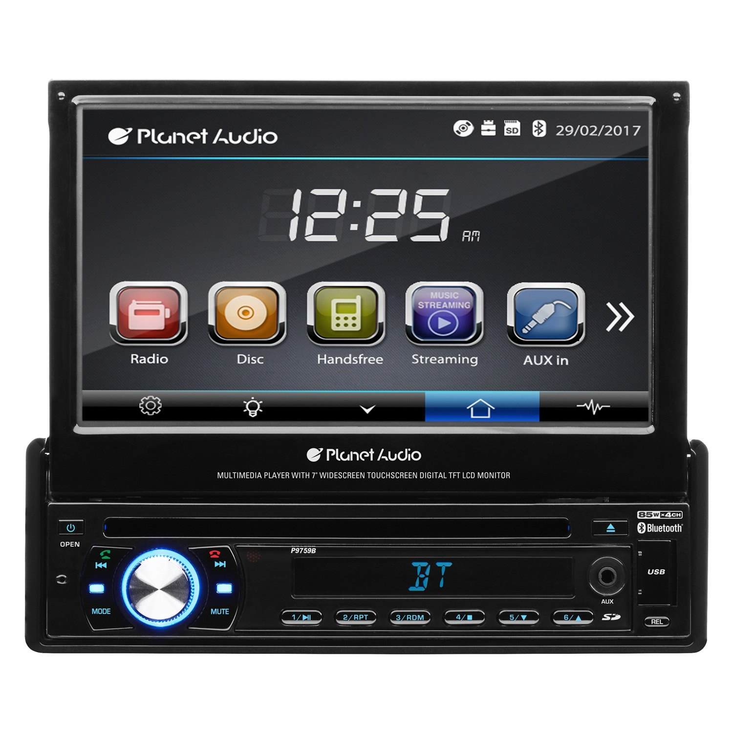"""Planet Audio® - Single DIN DVD/CD/AM/FM/MP3/WMA/MP4/AVI Receiver with  Motorized 7"""" Touchscreen Display and Built-In ..."""