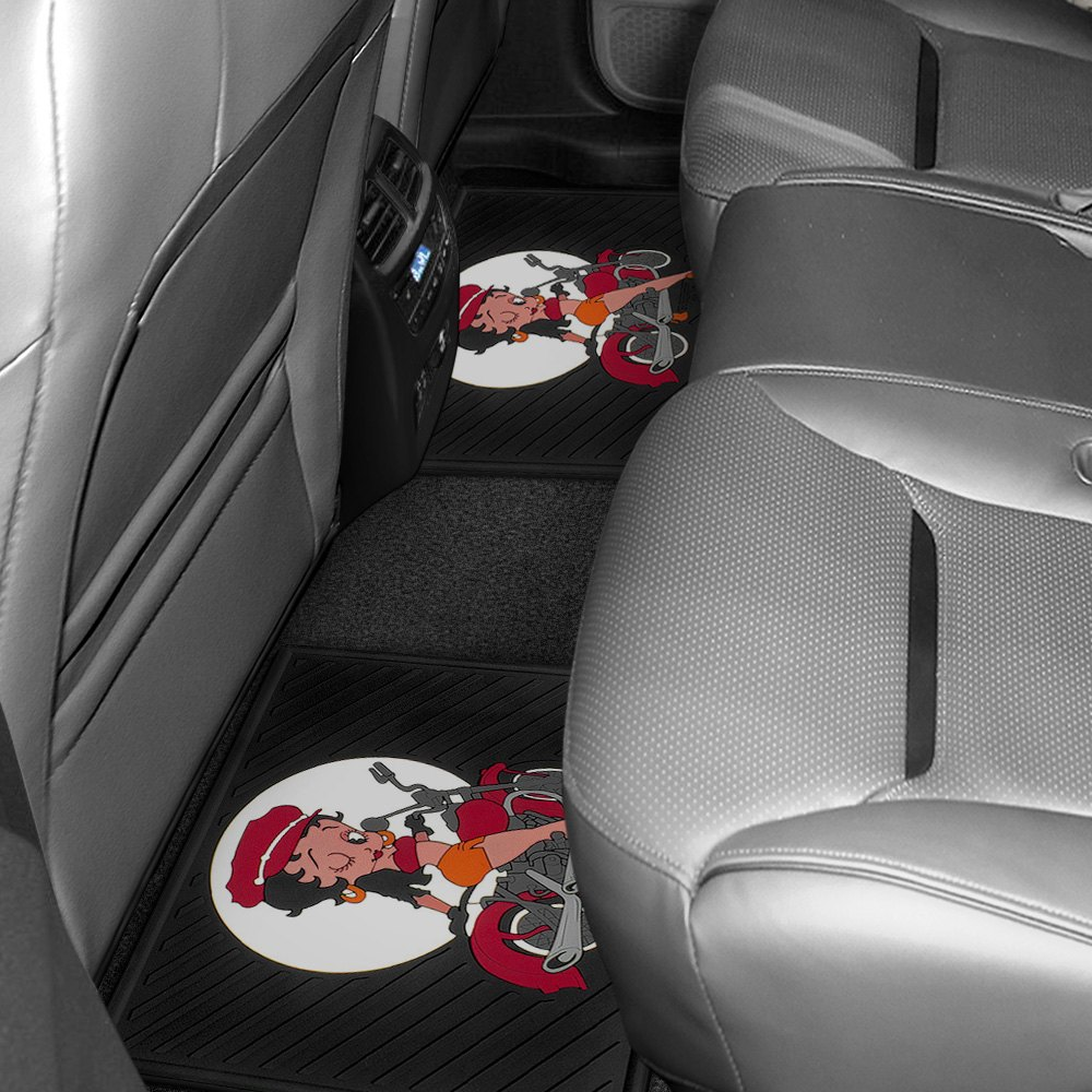 2nd Row Footwell Coverage Black Rubber Floor Mat With Betty Boop Kick Red Star Design