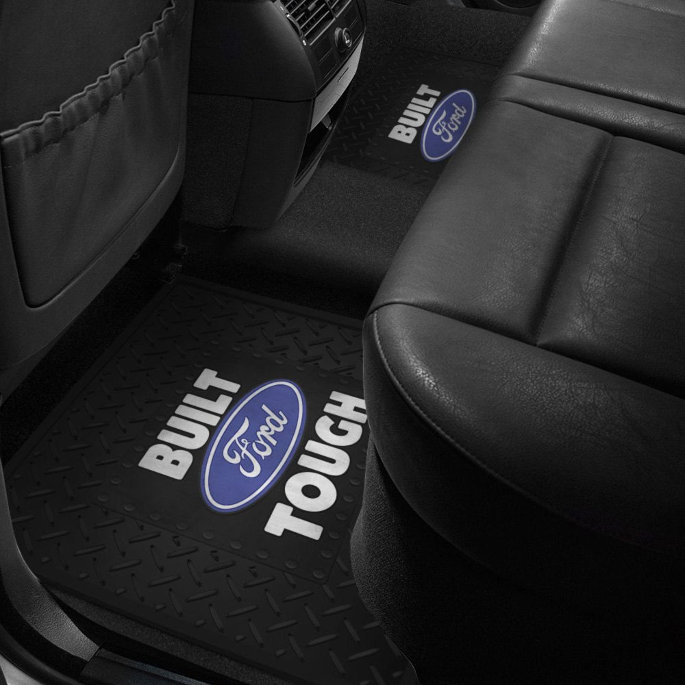 2nd row footwell coverage black rubber floor mat w ford tough logo 766566101017 ebay. Black Bedroom Furniture Sets. Home Design Ideas