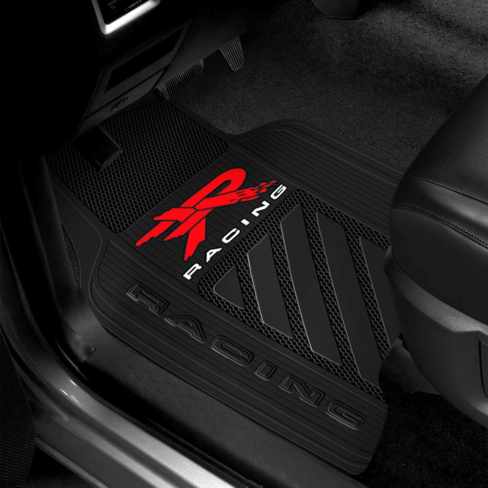 plasticolor 001466r04 1st row black rubber floor mats with r racing logo. Black Bedroom Furniture Sets. Home Design Ideas