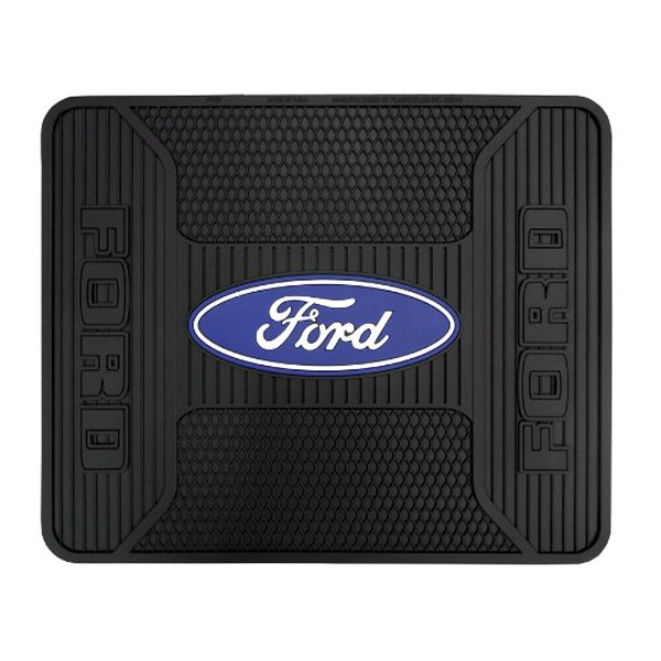 plasticolor 001189r01 2nd row footwell coverage black rubber floor mat with ford blue white logo. Black Bedroom Furniture Sets. Home Design Ideas