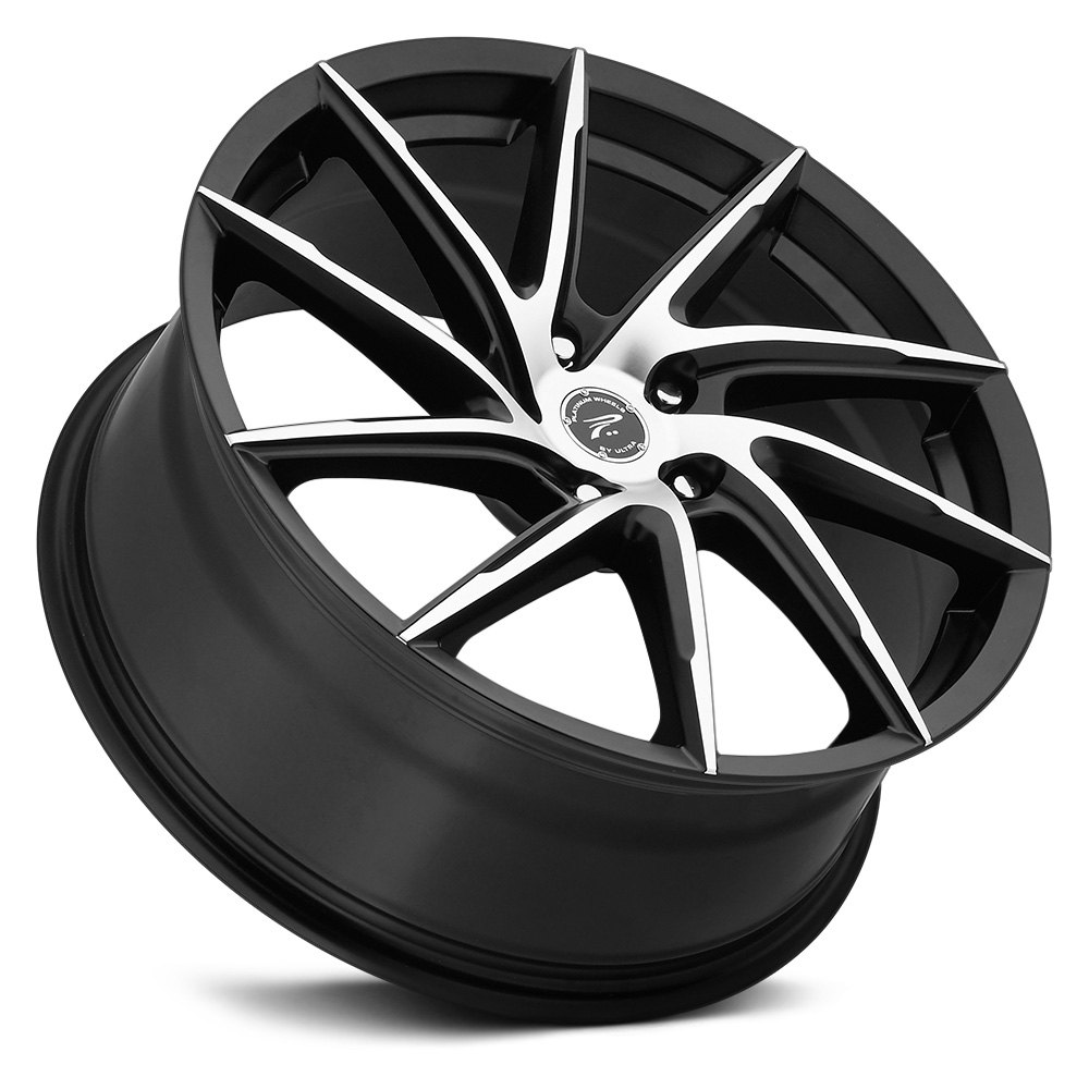 Platinum 174 433u Hawk Wheels Satin Black With Diamond Cut
