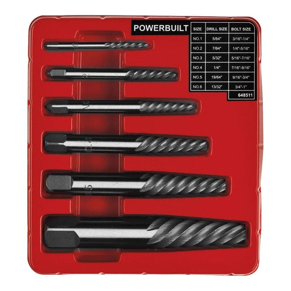 powerbuilt 648511 screw extractor set 6 pc. Black Bedroom Furniture Sets. Home Design Ideas
