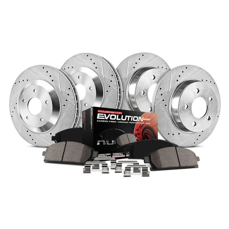 Front and Rear Kit Performance Drilled /& Slotted Brake Rotors /& Ceramic Pads