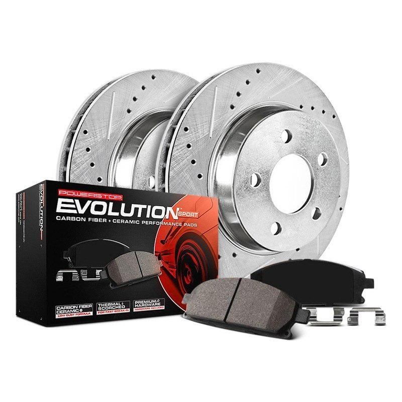 Power Stop Brakes >> Power Stop 1 Click Z23 Evolution Sport Drilled And Slotted Brake Kit
