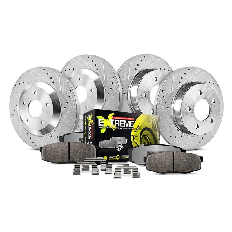 Carbon Ceramic Brake Pads Calipers Power Stop KC633-26 Z26 Street Warrior Rear Kit-Drilled//Slotted Rotors