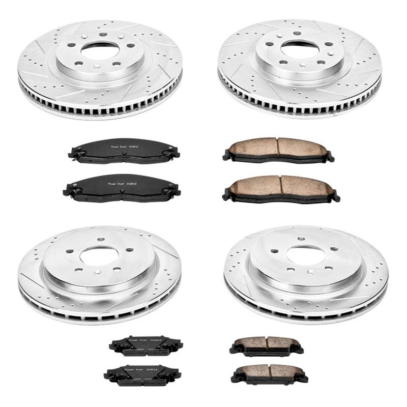 Power Stop K1420 Front and Rear Z23 Evolution Brake Kit with Drilled//Slotted Rotors and Ceramic Brake Pads