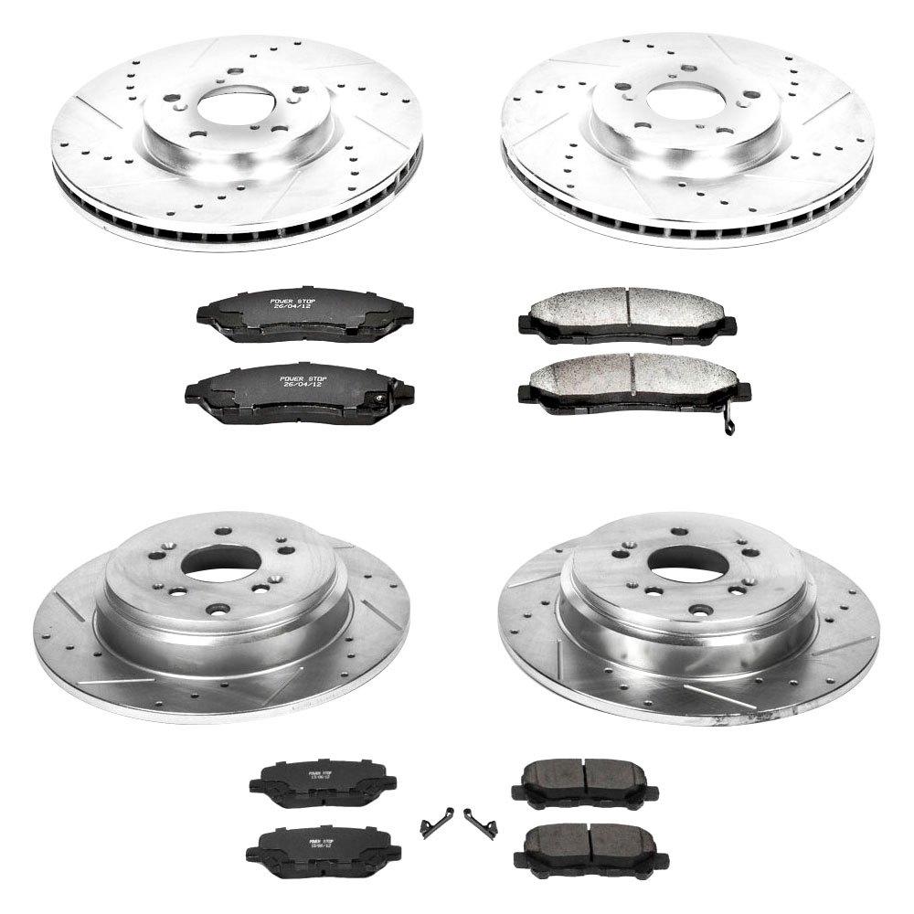 Power Stop K1418 Front and Rear Z23 Evolution Brake Kit with Drilled//Slotted Rotors and Ceramic Brake Pads