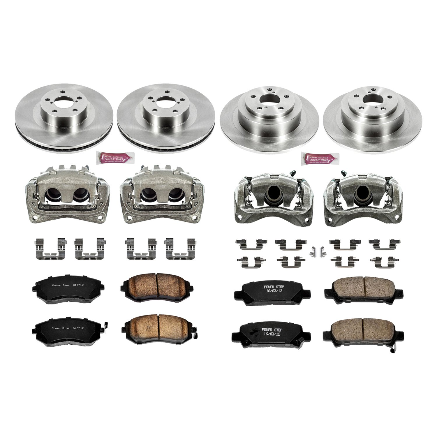power stop subaru legacy 2004 1 click autospecialty oe replacement plain brake kit with calipers. Black Bedroom Furniture Sets. Home Design Ideas
