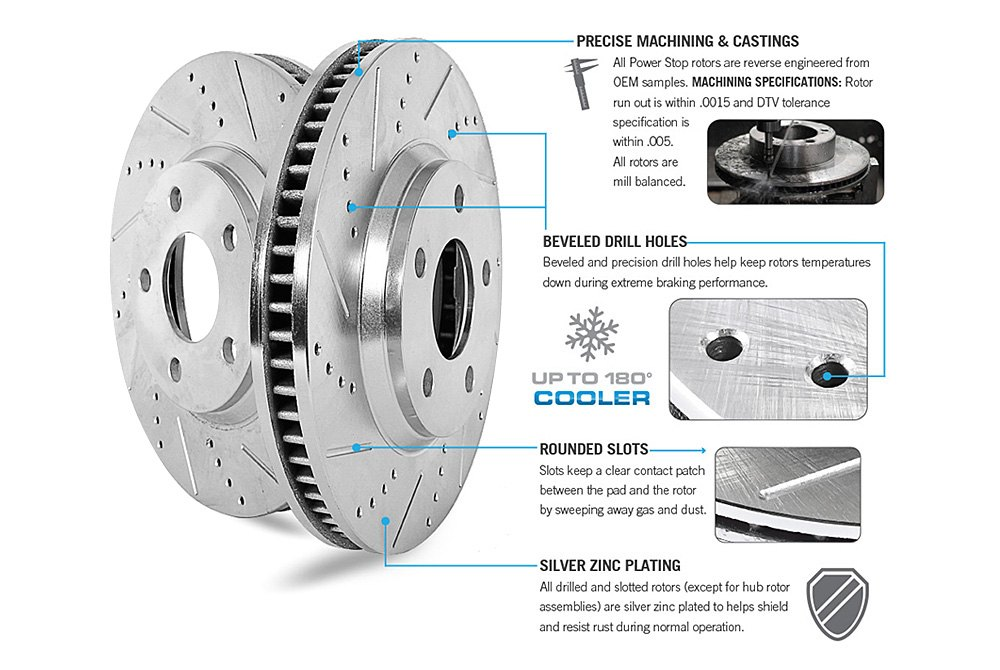 Power Stop K6071 Front and Rear Z23 Evolution Brake Kit with Drilled//Slotted Rotors and Ceramic Brake Pads
