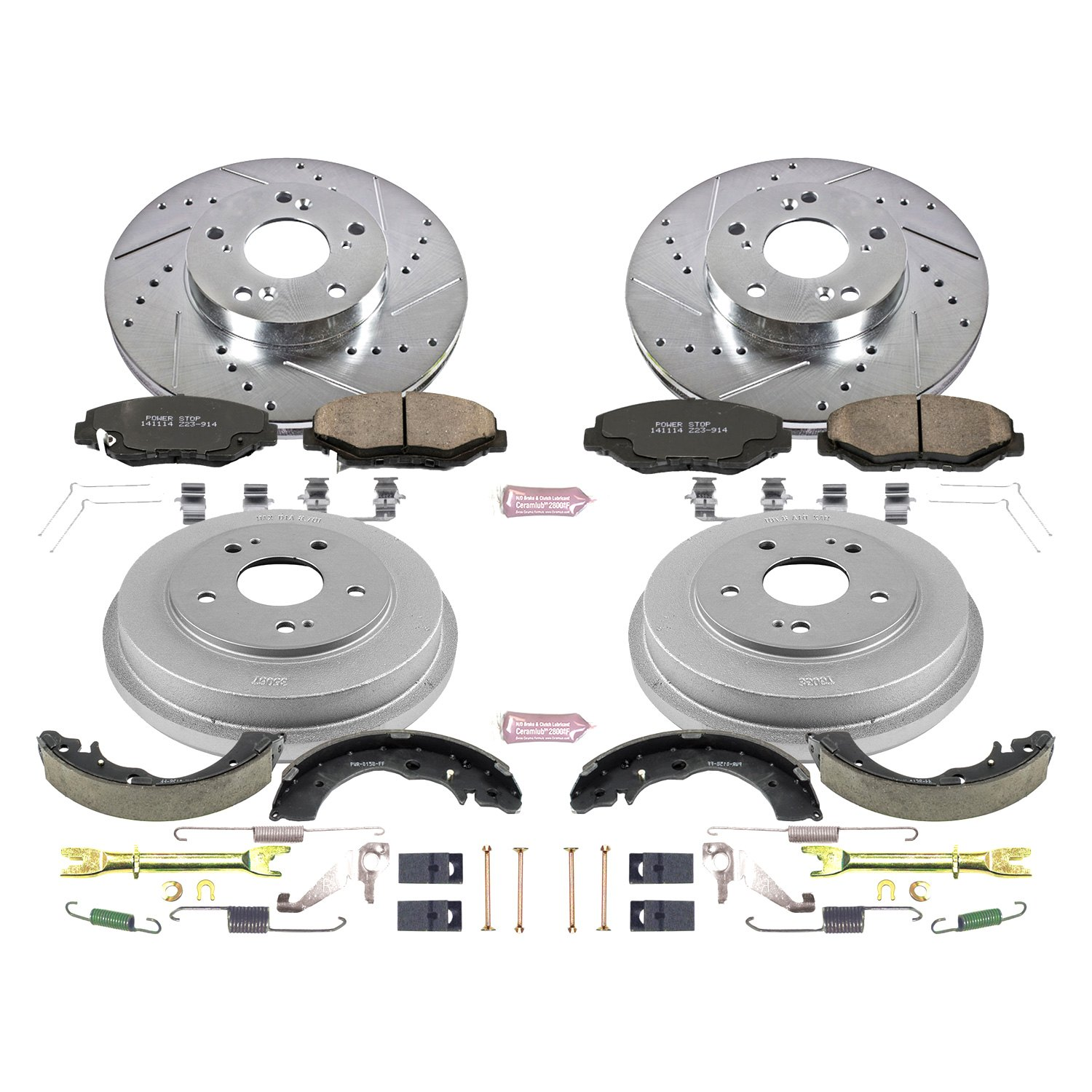 Rotor Power Stop Front /& Rear K15107DK Performance Pad Drum and Shoe Kits