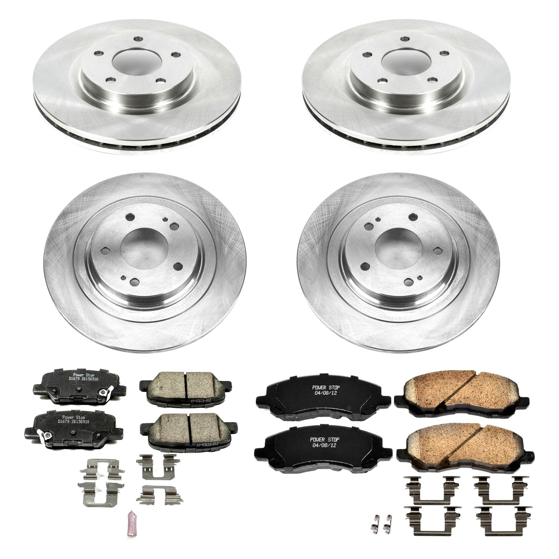 81474 REARS Power Sport Plain Replacement Brake Rotors and Ceramic Brake Pads Kit