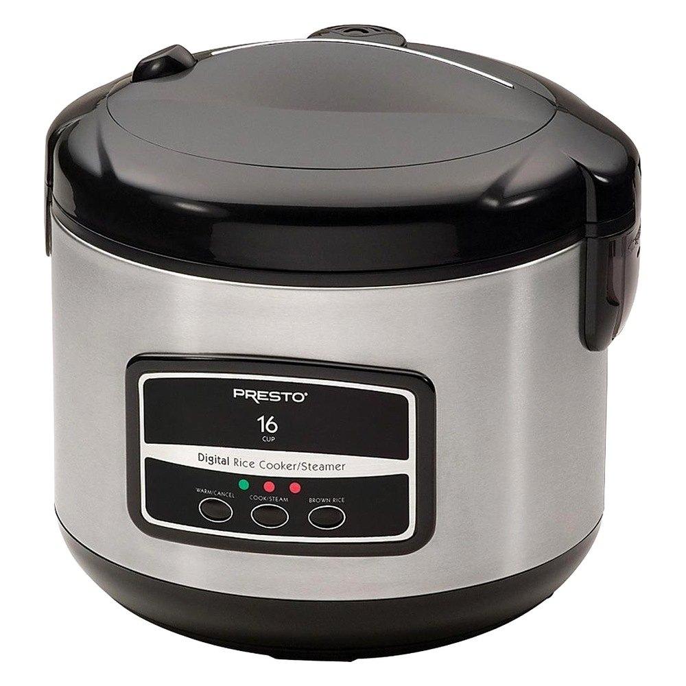 Presto 05813 16 Cup Digital Stainless Steel Rice Cooker Steamer
