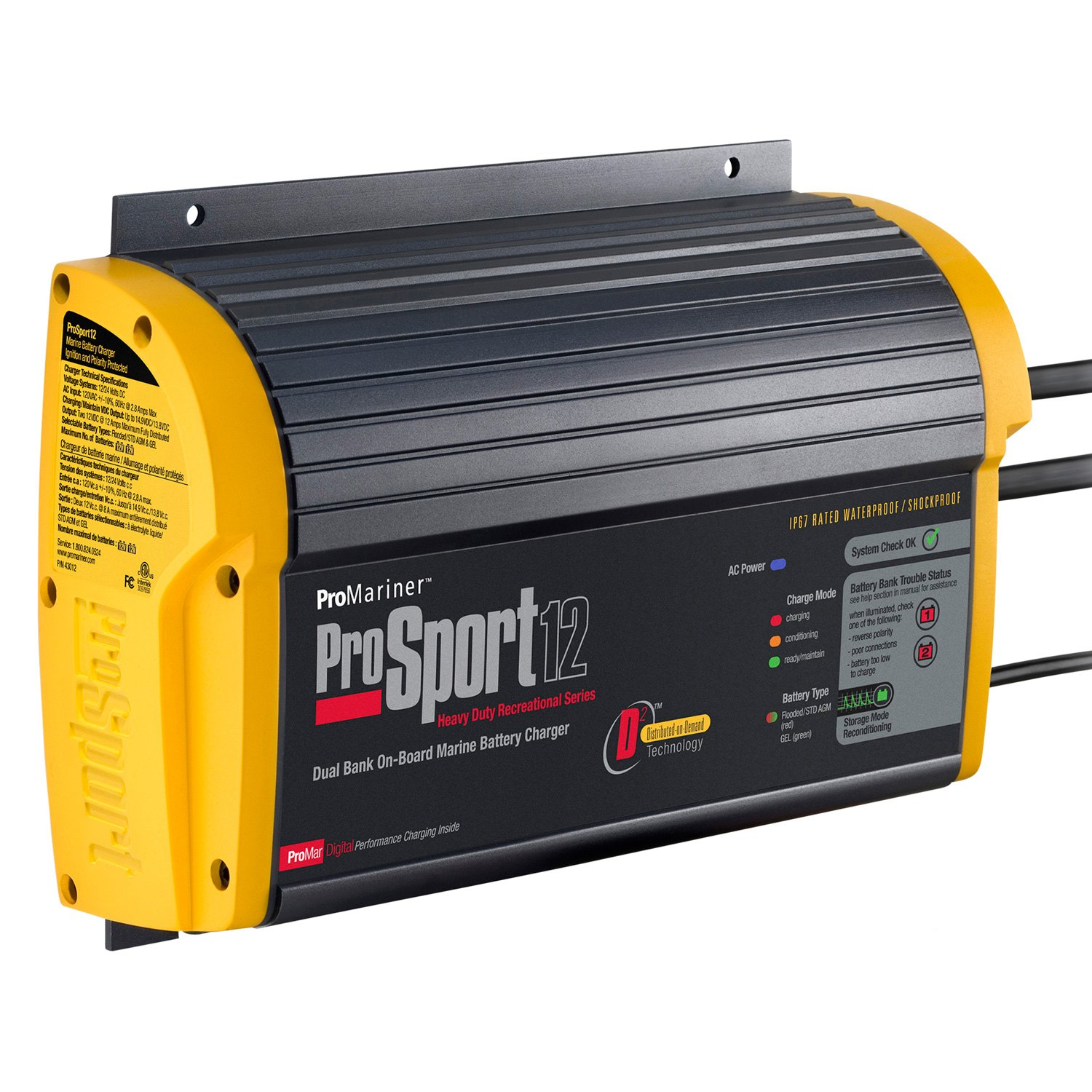 Led Battery Bank Monitor : Promariner prosport series a bank battery charger