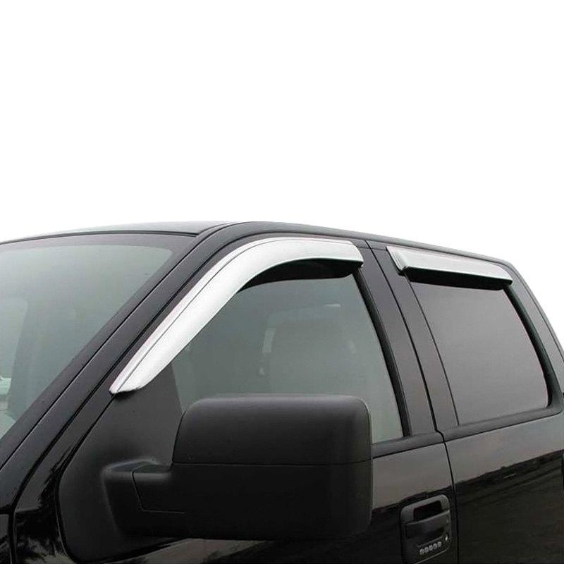 Chrome Window Vent Visors Rainguard Tap On For Dodge Ram: Ram 2500 2011 Tape-On Window Deflectors
