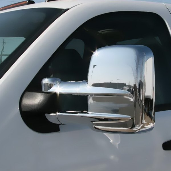for chevy silverado 2500 hd 2003 2015 putco chrome towing mirror covers ebay. Black Bedroom Furniture Sets. Home Design Ideas