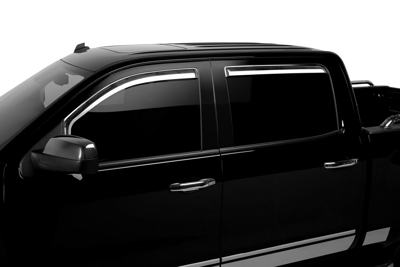 2017 Chevy Silverado 3500 >> Putco 480440 - In-Channel Element Chrome Front and Rear Window Visors | eBay