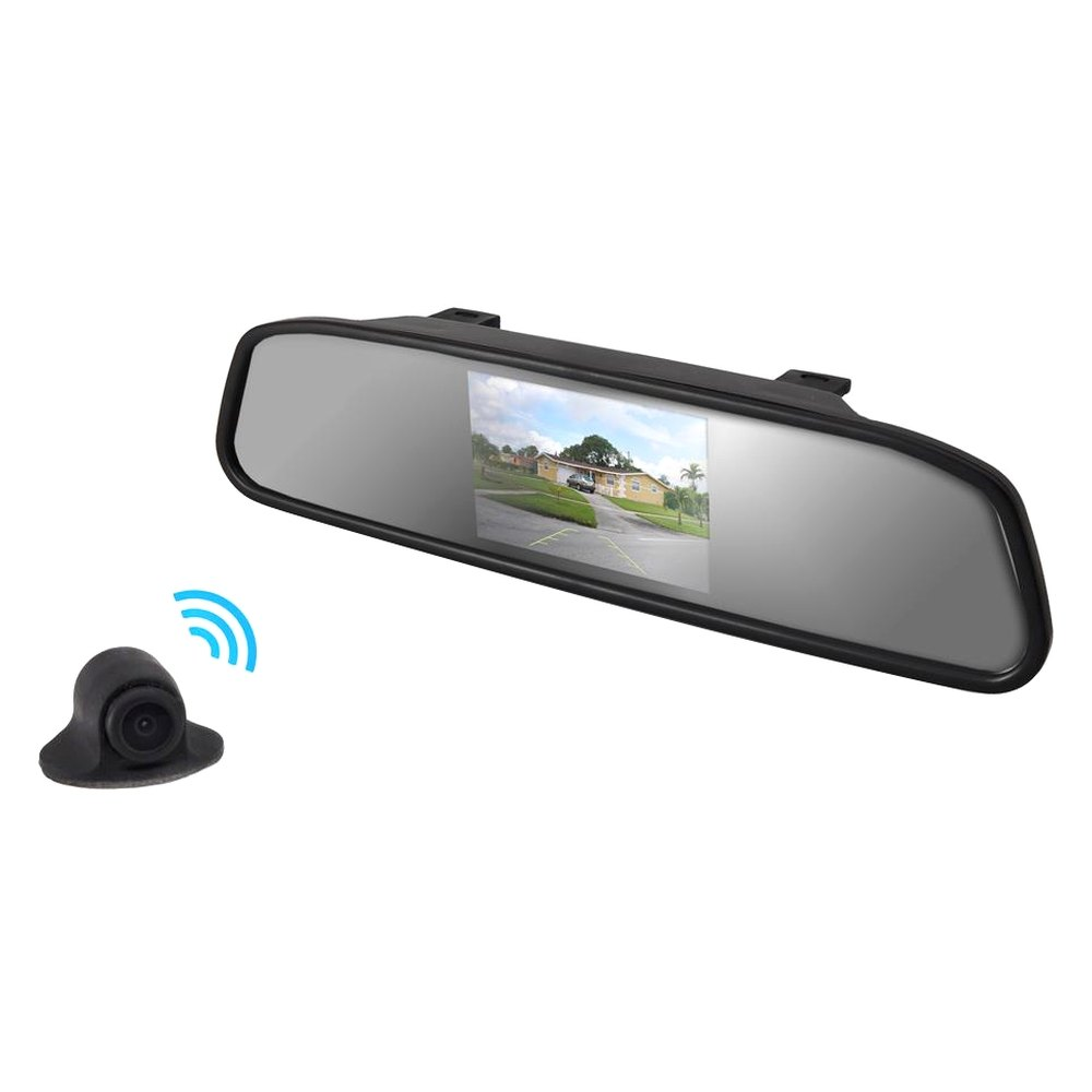 pyle plcm4370wir rear view mirror with 4 3 tft monitor and wireless back up camera. Black Bedroom Furniture Sets. Home Design Ideas