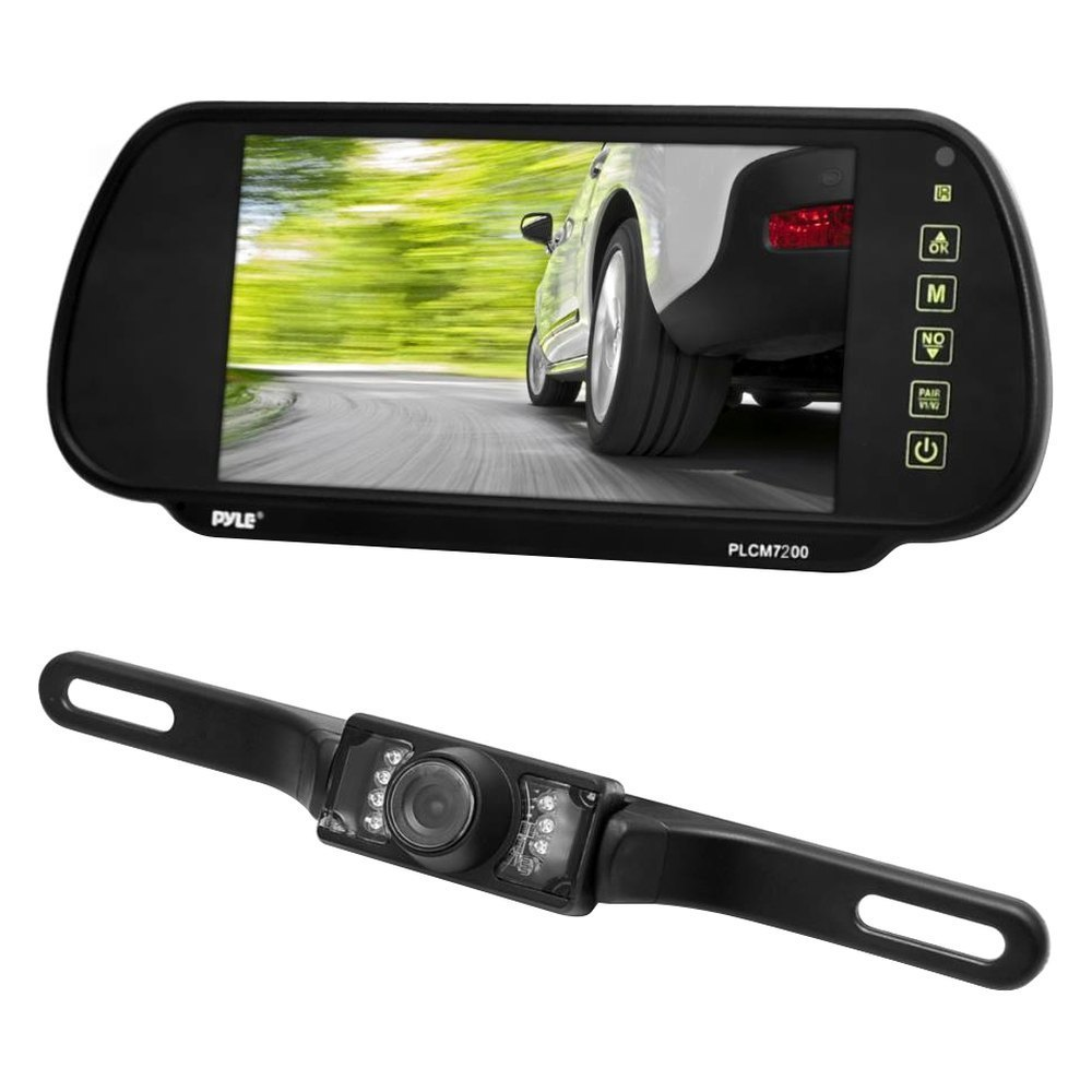 "Pyle® - Rear View Mirror with Built-in 7"" Monitor and Top License"