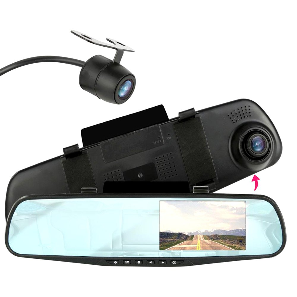 pyle plcmdvr47 rear view mirror with built in 4 3 monitor dash camera and surface mount camera. Black Bedroom Furniture Sets. Home Design Ideas