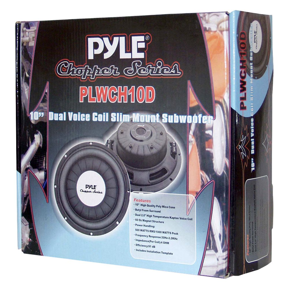 Pyle Plwch10d 10 Chopper Series Shallow Mount 1000w 4 Ohm Dvc How To Wire Dual Voice Coil Sub Subwoofer