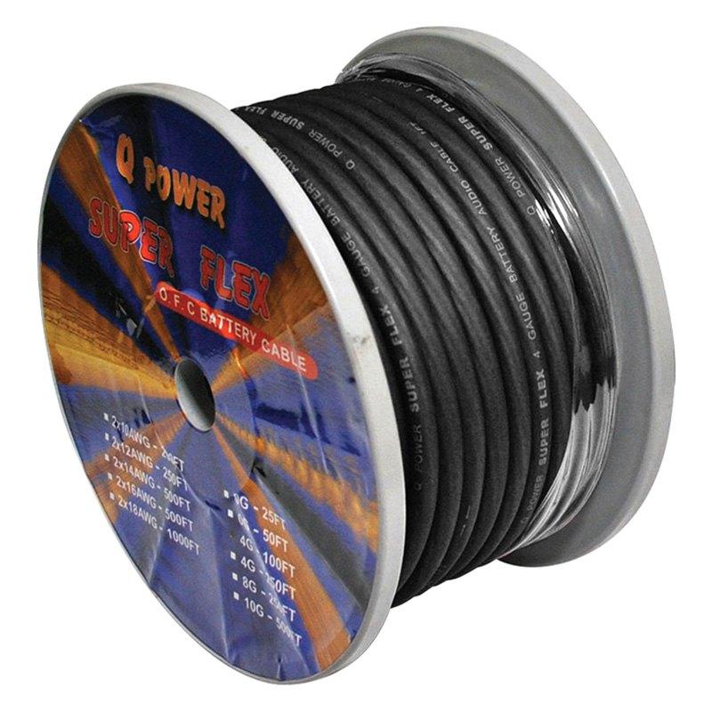 QPower® 4G100BK - 4 Gauge 100\' Super Flex Black OFC Battery Cable