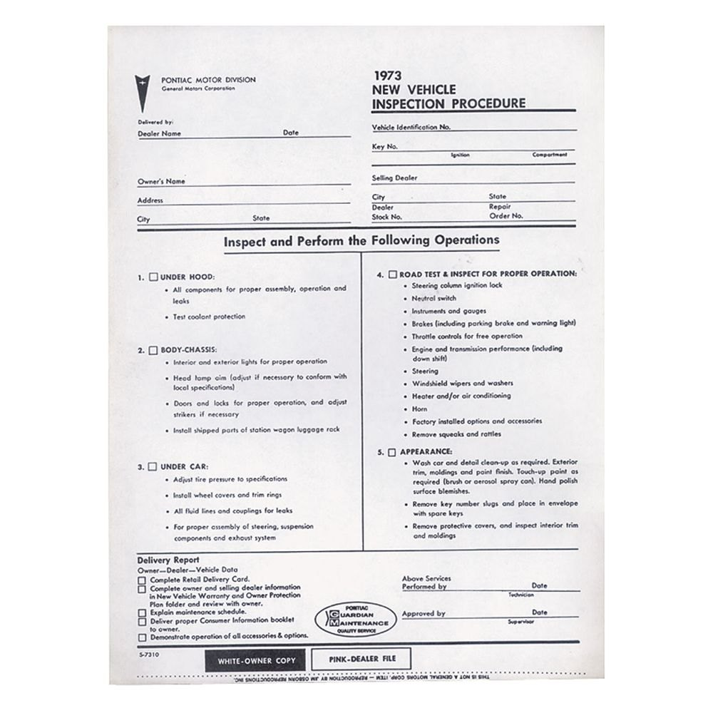 Qrp Dt00377 New Car Pre Delivery Inspection Sheet