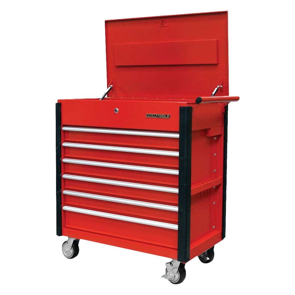 Quality Craft 174 24968 Red 6 Drawer Professional Tool Cart