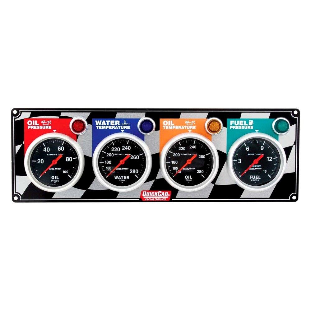 Quickcar Gauges Gauge Wiring Diagram Racing Auto Meter Sport Comp 4 Panel Oil Pressure