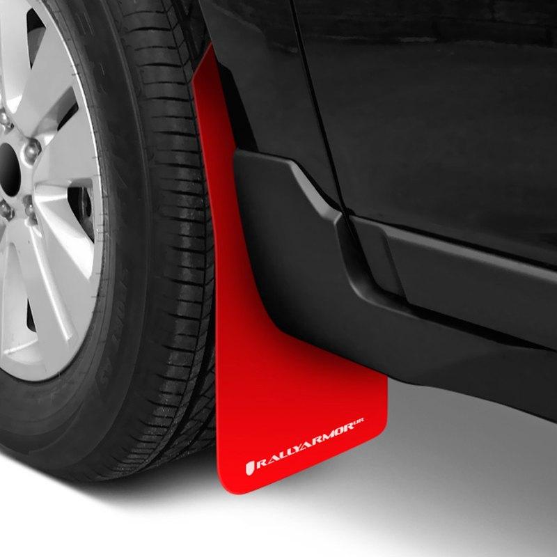 White Mud Flap with Logo 2013-2015 Toyota RAV4 UR Rally Armor MF41-UR-RD//WH Red
