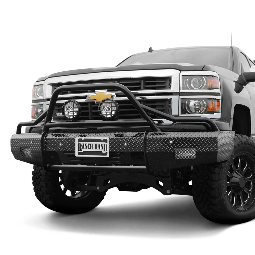 ranch hand chevy silverado 2015 summit bullnose series full width black front hd bumper with. Black Bedroom Furniture Sets. Home Design Ideas