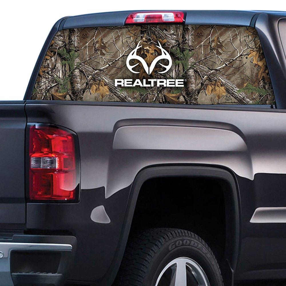 Realtree xtra camo style rear window graphic with realtree logo