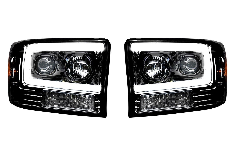 Recon 264192bkc Blacksmoke Led Drl Bar Halo Projector Headlights