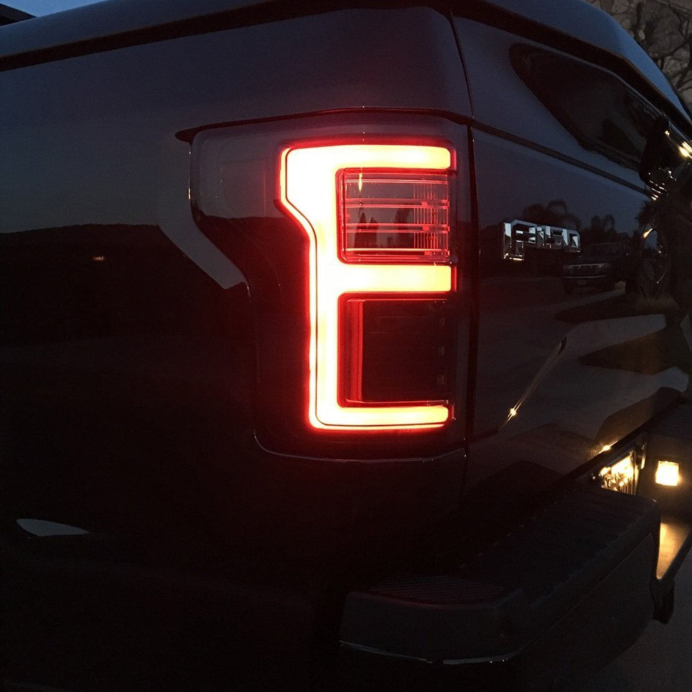 Recon® - Ford F-150 with Factory Halogen Tail Lights 2017 Black Red/Smoke Fiber Optic LED Tail ...