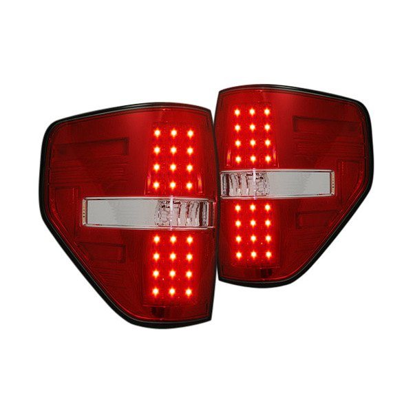 recon 264168rd ford f 150 2013 chrome red led tail lights. Black Bedroom Furniture Sets. Home Design Ideas