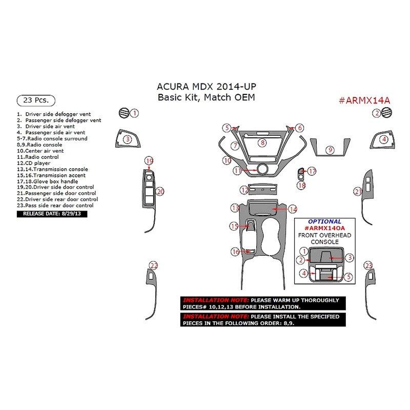 2015 Acura Suv: Acura MDX 2015 Factory Match Basic Dash Kit