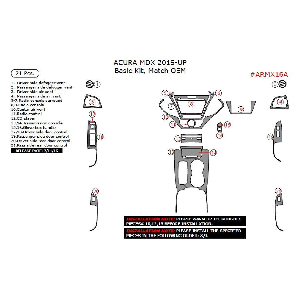 Acura MDX 2016 Factory Match Basic Dash Kit