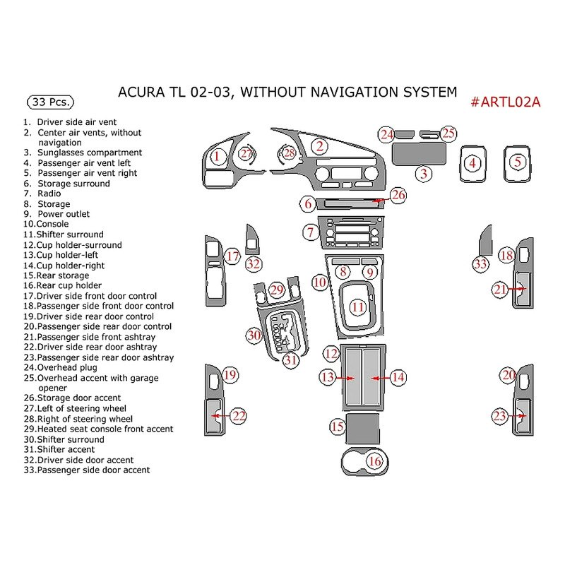 Remin Acura Tl 2002 Factory Match Main Dash Kit