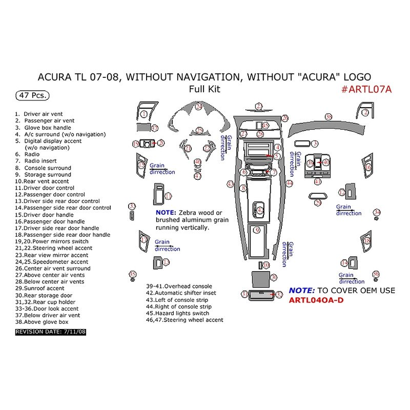 Acura TL 2007 Full Dash Kit
