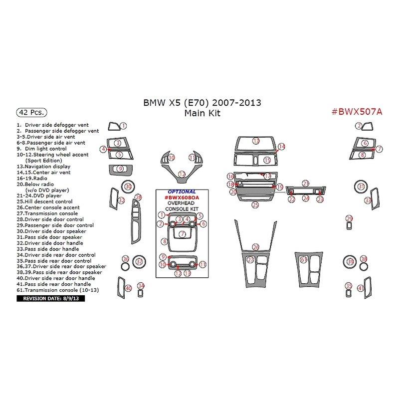 BMW X5 E70 Body Code 2012 Main Dash Kit